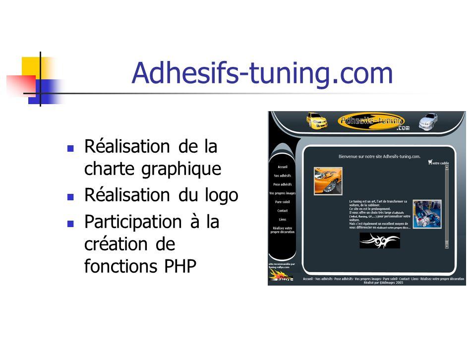Adhesifs-tuning.com Réalisation de la charte graphique Réalisation du logo Participation à la création de fonctions PHP
