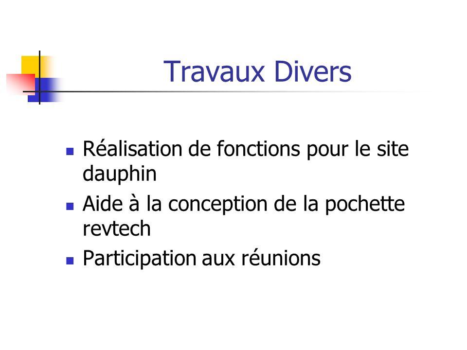 Travaux Divers Réalisation de fonctions pour le site dauphin Aide à la conception de la pochette revtech Participation aux réunions