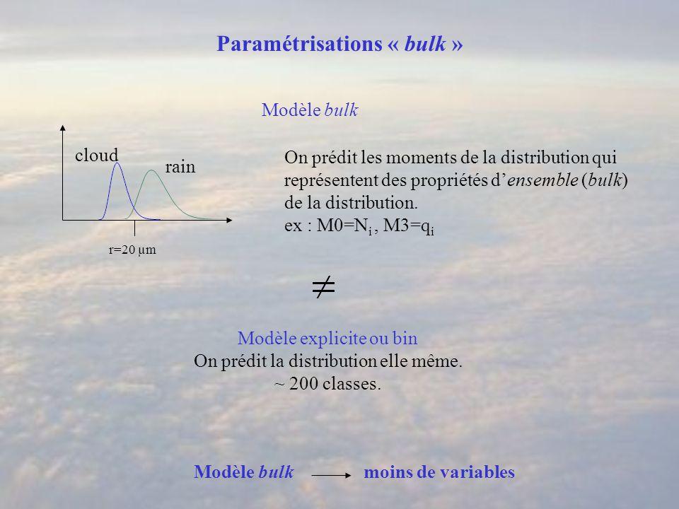 Paramétrisations « bulk » cloud rain r=20 µm On prédit les moments de la distribution qui représentent des propriétés densemble (bulk) de la distribution.