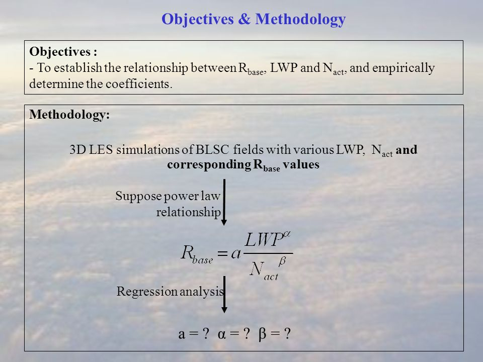 Objectives & Methodology Methodology: 3D LES simulations of BLSC fields with various LWP, N act and corresponding R base values Objectives : - To establish the relationship between R base, LWP and N act, and empirically determine the coefficients.