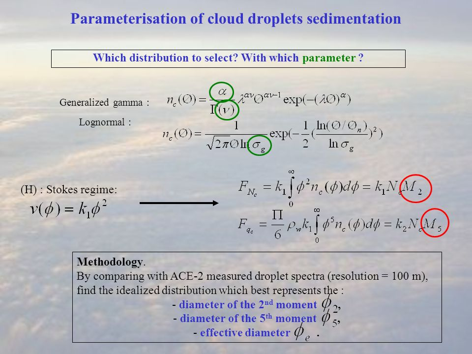 Parameterisation of cloud droplets sedimentation Which distribution to select? With which parameter ? Generalized gamma : Lognormal : Methodology. By