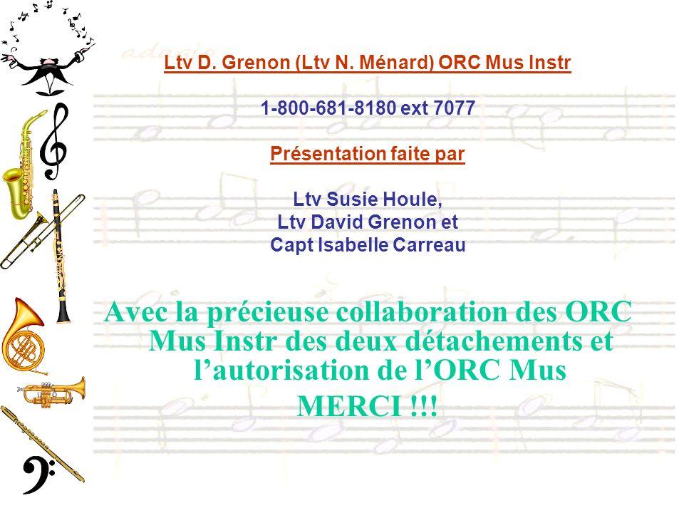 Ltv D. Grenon (Ltv N. Ménard) ORC Mus Instr 1-800-681-8180 ext 7077 Présentation faite par Ltv Susie Houle, Ltv David Grenon et Capt Isabelle Carreau