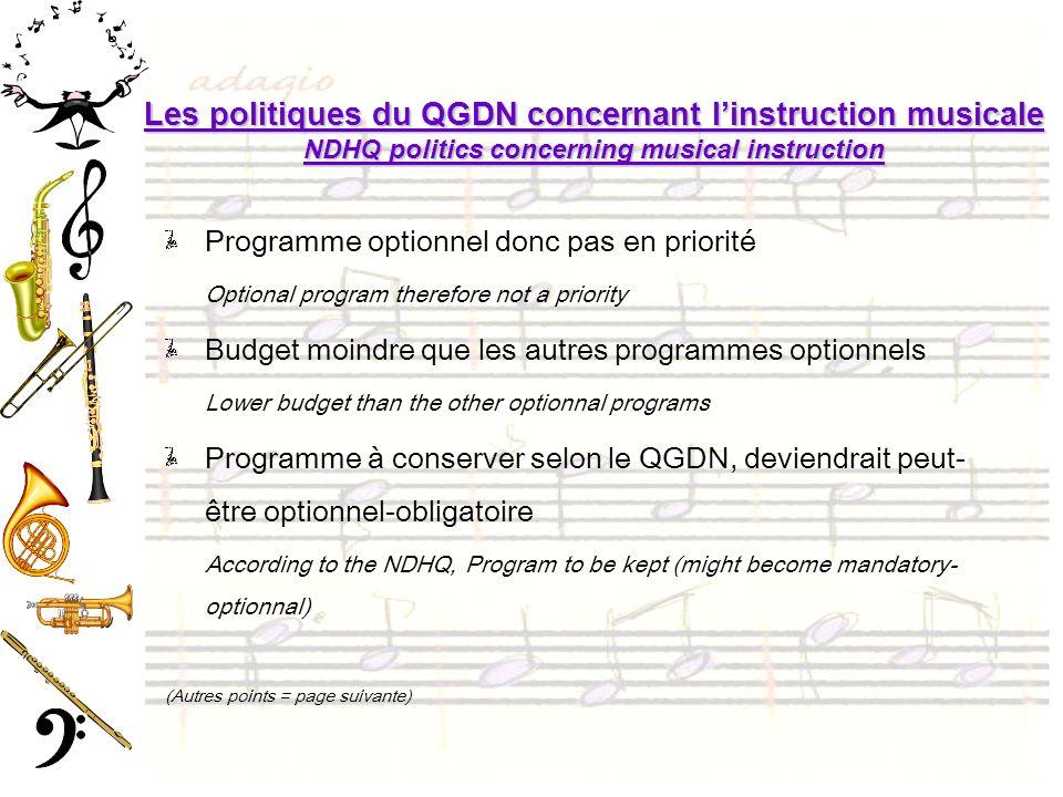 Les politiques du QGDN concernant linstruction musicale NDHQ politics concerning musical instruction Programme optionnel donc pas en priorité Optional