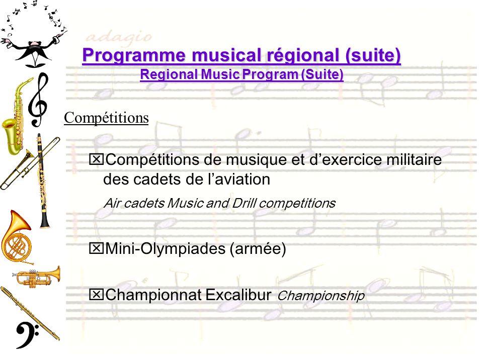 Programme musical régional (suite) Regional Music Program (Suite) Compétitions xCompétitions de musique et dexercice militaire des cadets de laviation