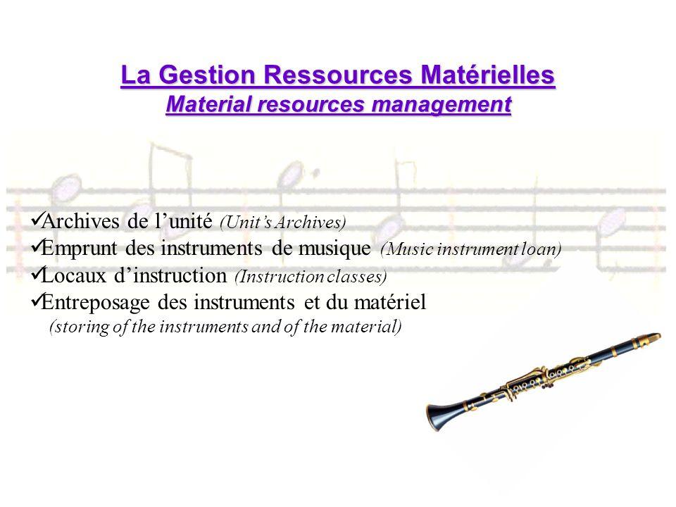 La Gestion Ressources Matérielles Material resources management Archives de lunité (Units Archives) Emprunt des instruments de musique (Music instrume
