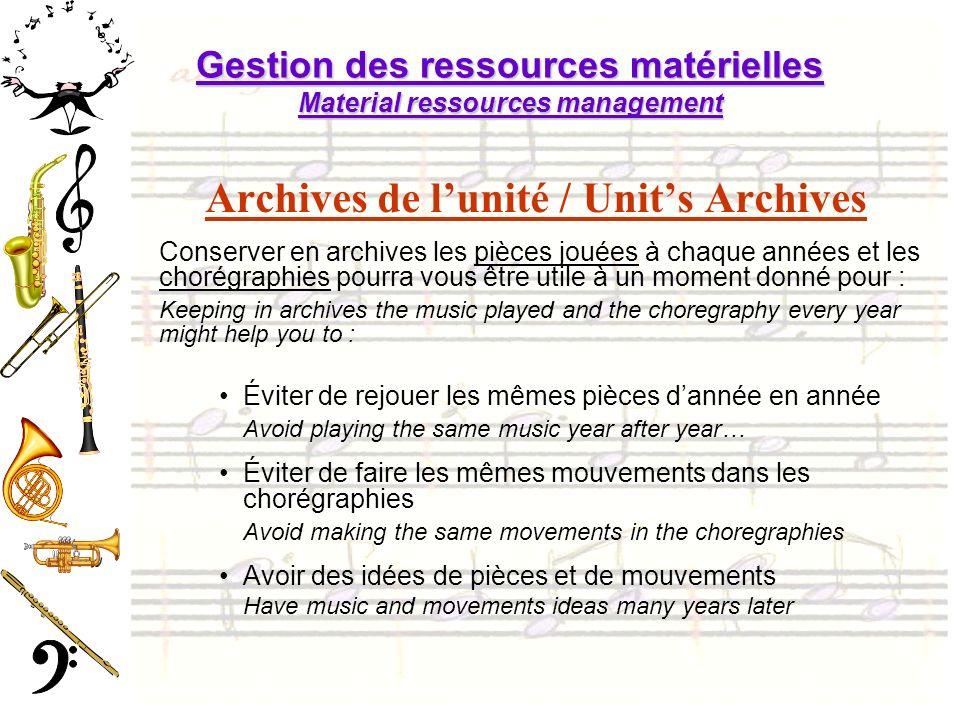 Gestion des ressources matérielles Material ressources management Archives de lunité / Units Archives Conserver en archives les pièces jouées à chaque