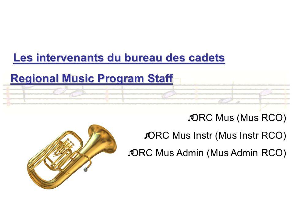 Les intervenants du bureau des cadets Regional Music Program Staff ORC Mus (Mus RCO) ORC Mus Instr (Mus Instr RCO) ORC Mus Admin (Mus Admin RCO)