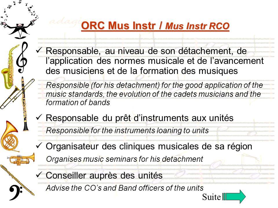 ORC Mus Instr / Mus Instr RCO Responsable, au niveau de son détachement, de lapplication des normes musicale et de lavancement des musiciens et de la