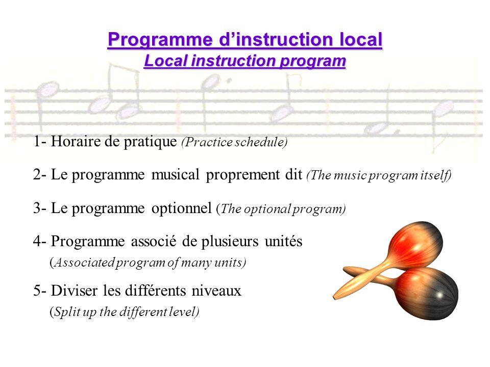 1- Horaire de pratique (Practice schedule) 2- Le programme musical proprement dit (The music program itself) 3- Le programme optionnel (The optional p