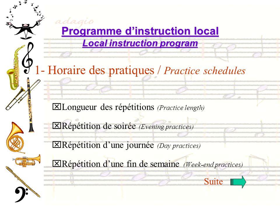 1- Horaire des pratiques / Practice schedules xLongueur des répétitions (Practice length) xRépétition de soirée (Evening practices) xRépétition dune j