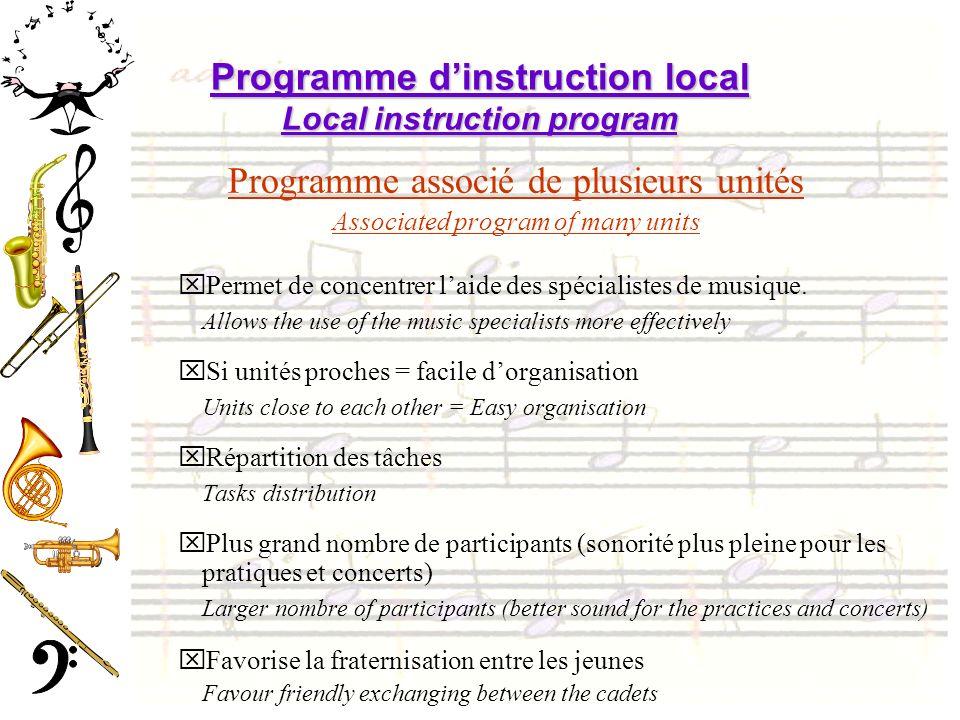 Programme dinstruction local Local instruction program Programme associé de plusieurs unités Associated program of many units xPermet de concentrer laide des spécialistes de musique.