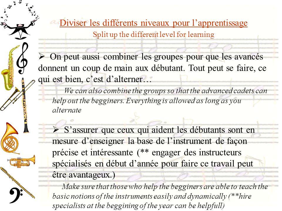 Diviser les différents niveaux pour lapprentissage Split up the different level for learning On peut aussi combiner les groupes pour que les avancés donnent un coup de main aux débutant.