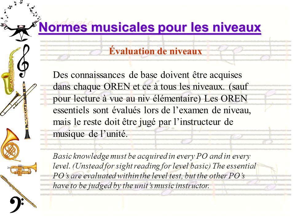 Évaluation de niveaux Des connaissances de base doivent être acquises dans chaque OREN et ce à tous les niveaux. (sauf pour lecture à vue au niv éléme