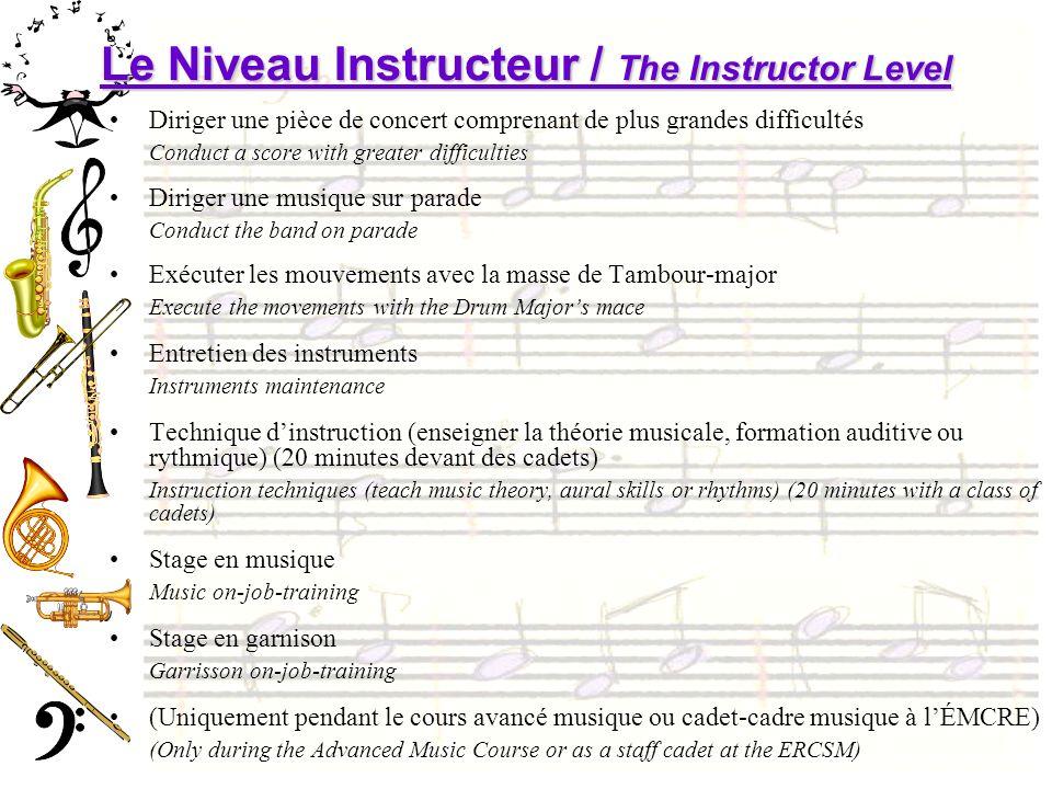 Le Niveau Instructeur / The Instructor Level Diriger une pièce de concert comprenant de plus grandes difficultés Conduct a score with greater difficul