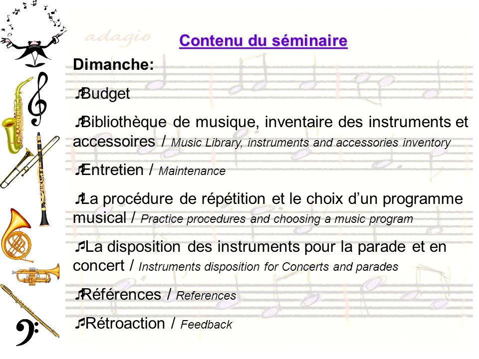 Les buts du programme de musique dans lorganisation des cadets The objectives of the music program in the cadet organisation Objectifs dune musique Band objectives Activités possibles avec une musique dunité Possible activities with a unit band Relations publiques Public Relations