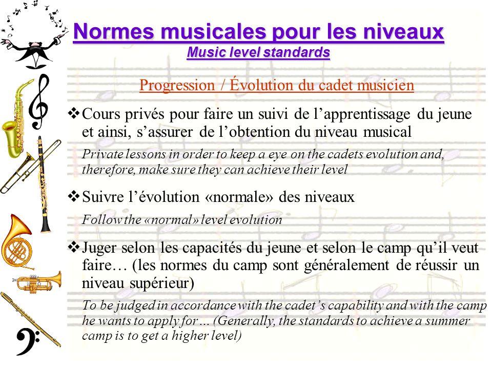 Normes musicales pour les niveaux Music level standards Progression / Évolution du cadet musicien Cours privés pour faire un suivi de lapprentissage d