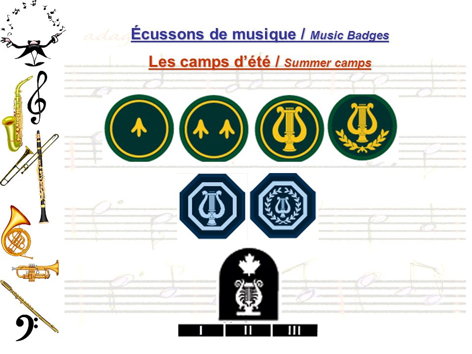 Écussons de musique / Music Badges Les camps dété / Summer camps
