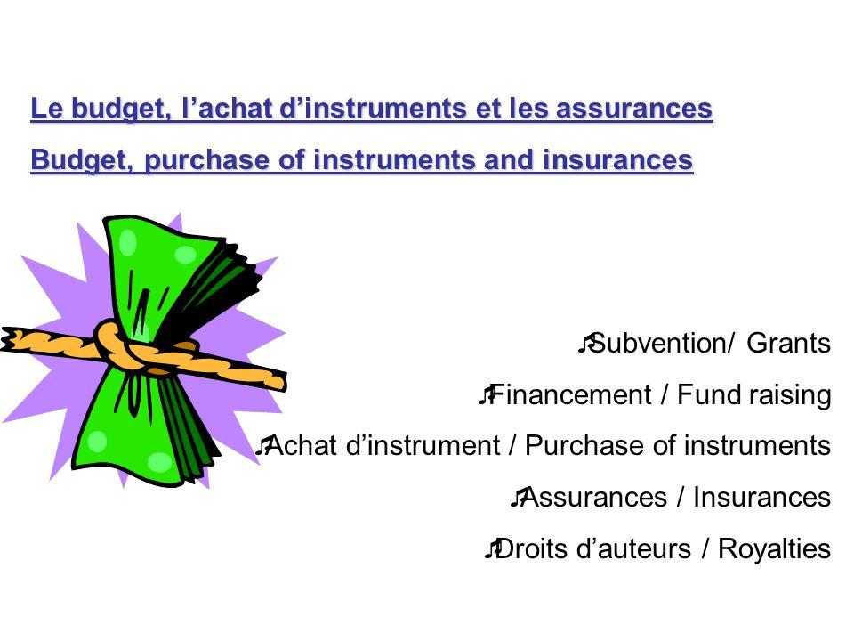 Le budget, lachat dinstruments et les assurances Budget, purchase of instruments and insurances Subvention/ Grants Financement / Fund raising Achat di