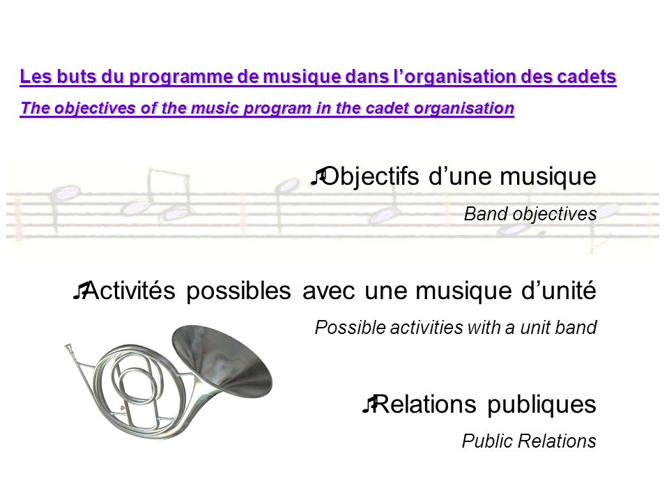 Début et fin des répétitions / beginning and end of rehearsals Début = établir latmosphère / Beginning = establish the atmosphere Fin = laisser sentiment daccomplissement et dencouragement / end = give the feeling of accomplishment and encouragement Ne jamais terminer une pratique sur des consignes ou messages mais sur des notes de musique.