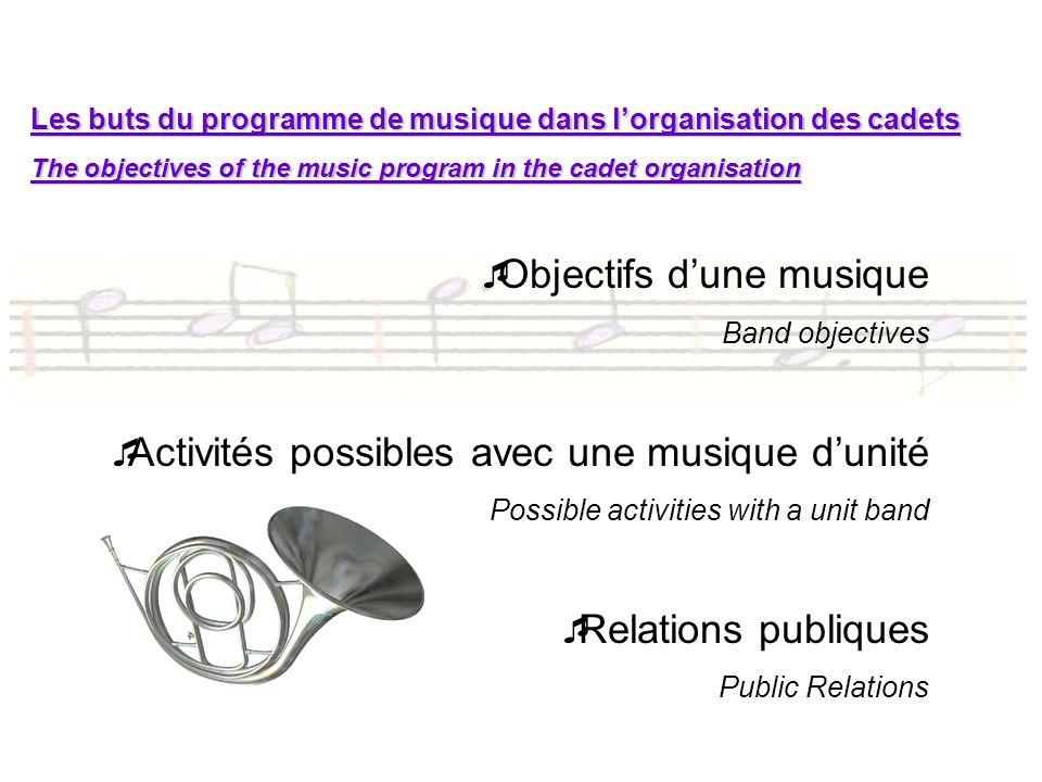 Les buts du programme de musique dans lorganisation des cadets The objectives of the music program in the cadet organisation Objectifs dune musique Ba