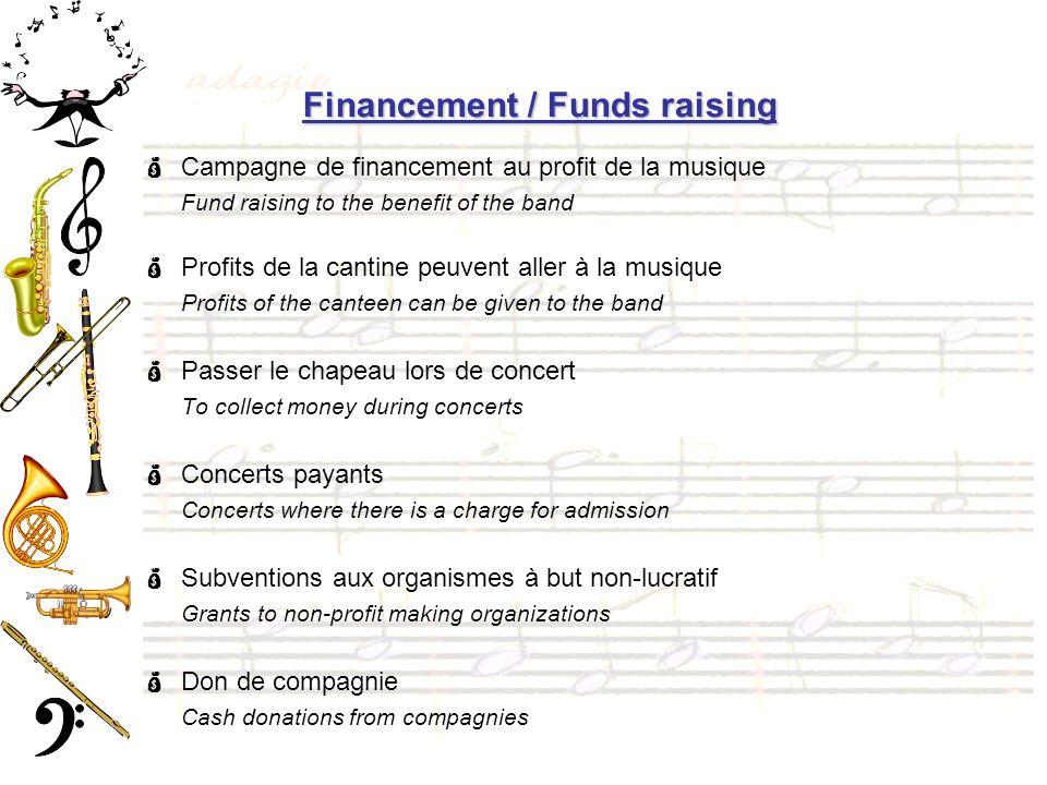 Financement / Funds raising Campagne de financement au profit de la musique Fund raising to the benefit of the band Profits de la cantine peuvent alle