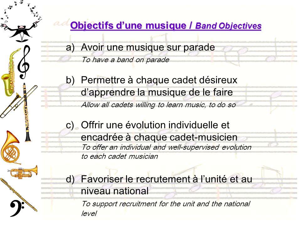 Objectifs dune musique / Band Objectives a)Avoir une musique sur parade To have a band on parade b)Permettre à chaque cadet désireux dapprendre la mus