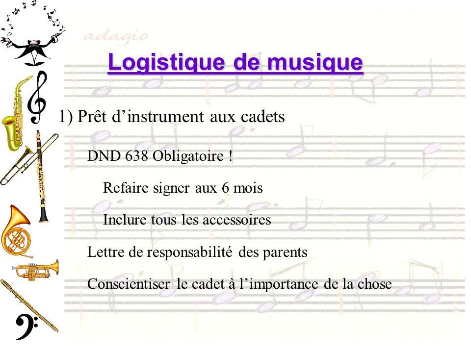 Logistique de musique 1) Prêt dinstrument aux cadets DND 638 Obligatoire ! Refaire signer aux 6 mois Inclure tous les accessoires Lettre de responsabi