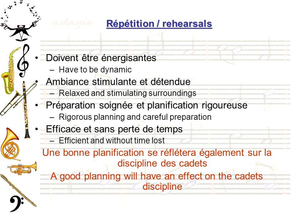 Répétition / rehearsals Doivent être énergisantes –Have to be dynamic Ambiance stimulante et détendue –Relaxed and stimulating surroundings Préparatio