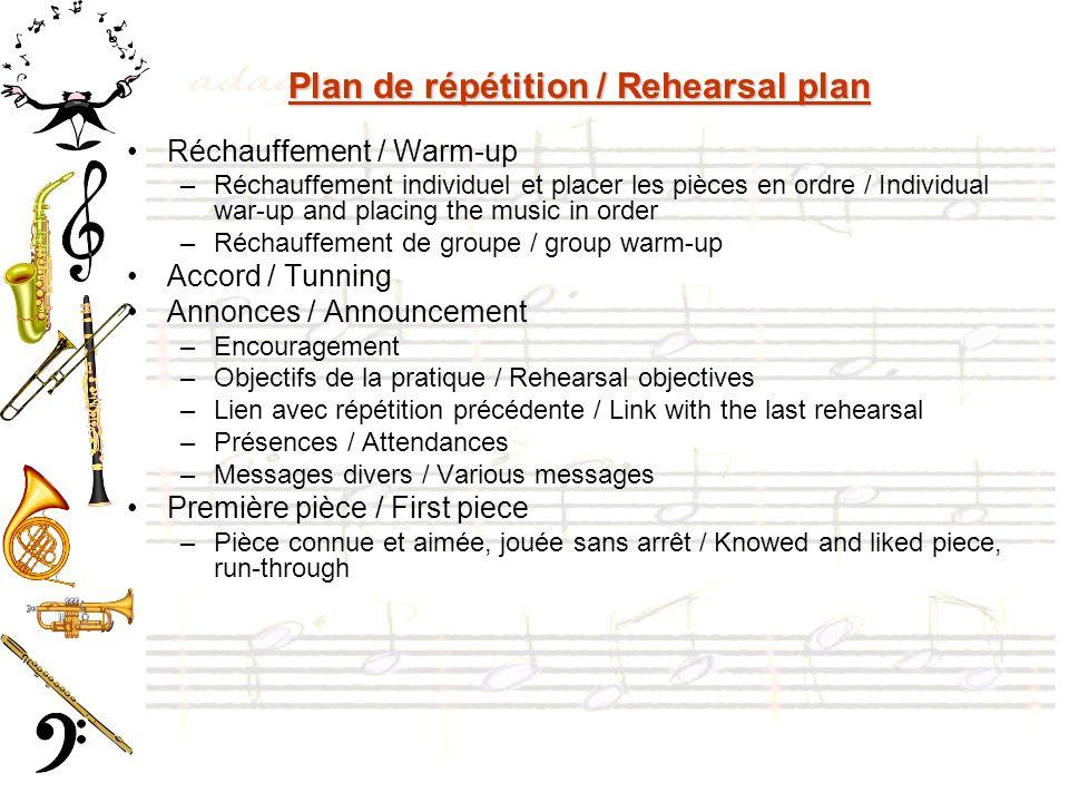 Plan de répétition / Rehearsal plan Réchauffement / Warm-up –Réchauffement individuel et placer les pièces en ordre / Individual war-up and placing th