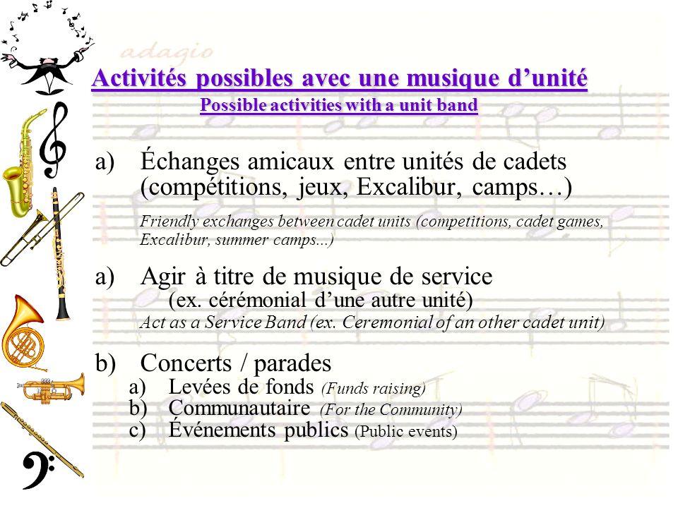 Activités possibles avec une musique dunité Possible activities with a unit band a)Échanges amicaux entre unités de cadets (compétitions, jeux, Excali