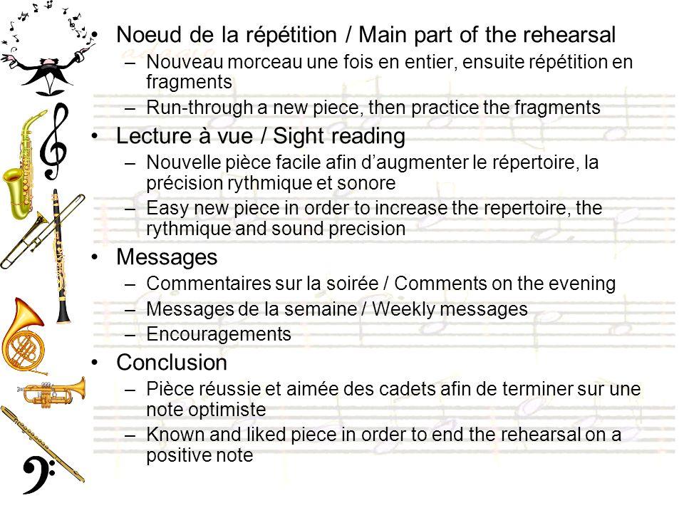 Noeud de la répétition / Main part of the rehearsal –Nouveau morceau une fois en entier, ensuite répétition en fragments –Run-through a new piece, the