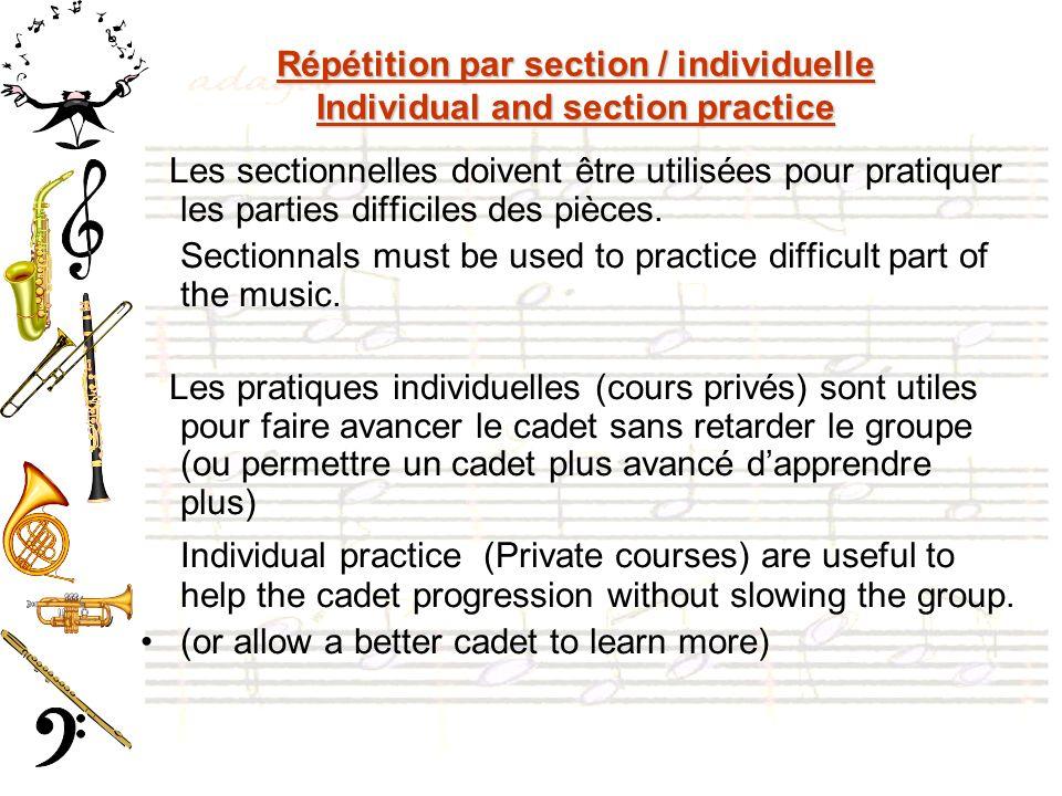 Répétition par section / individuelle Individual and section practice Les sectionnelles doivent être utilisées pour pratiquer les parties difficiles des pièces.
