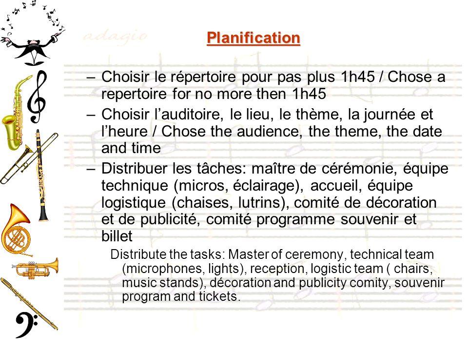 Planification –Choisir le répertoire pour pas plus 1h45 / Chose a repertoire for no more then 1h45 –Choisir lauditoire, le lieu, le thème, la journée