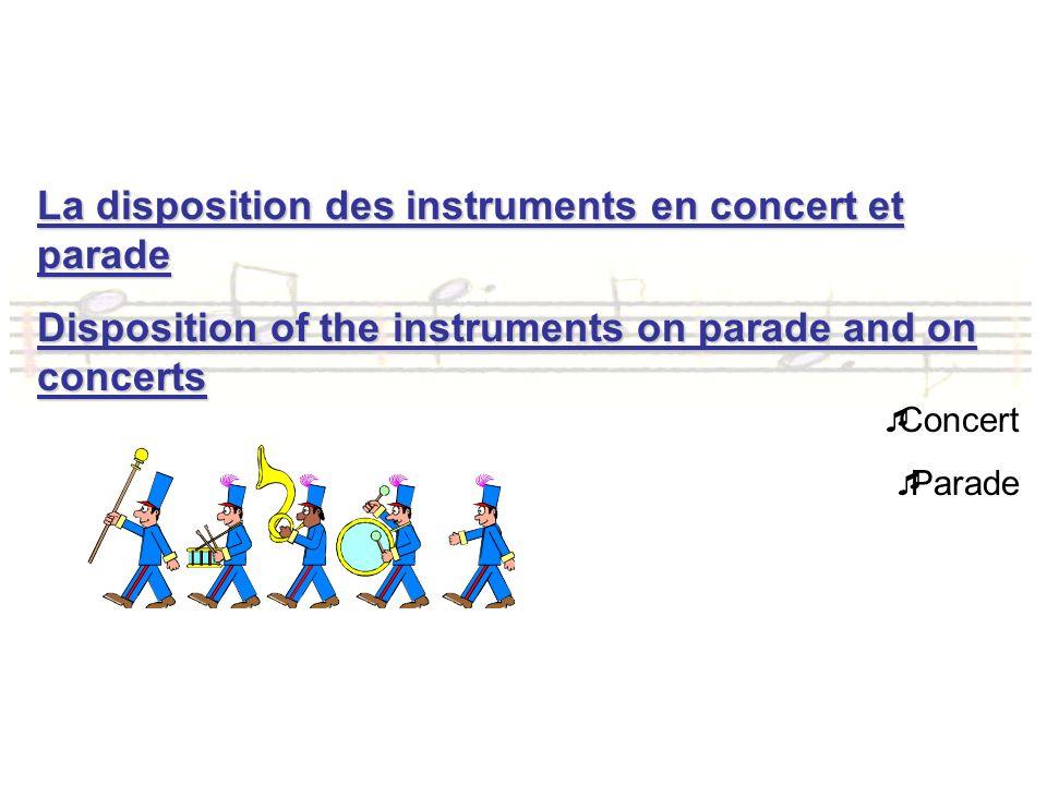 La disposition des instruments en concert et parade Disposition of the instruments on parade and on concerts Concert Parade