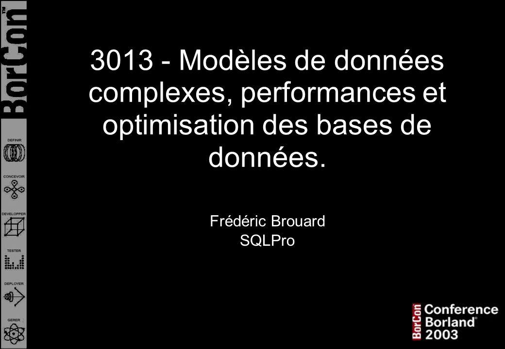 QUELQUES REQUÊTES CLASSIQUES (suite) : 5 - Tous les ancêtres d un élément de référence : (par exemple à partir de Boutons ) SELECT * FROM T_NOMENCLATURE_NMC WHERE NMC_BG < 10 AND NMC_BD > 11 4 étant le NMC_BG de Chassis et 17 son NMC_BD 3013Modèles, performances et optimisation des BD (1/3 : arbres).