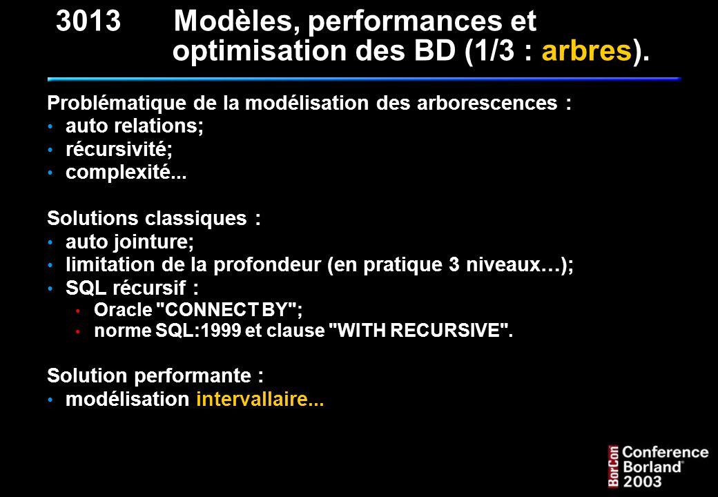 7 - Compter les feuilles : SELECT COUNT(*) AS NB_FEUILLES FROM T_NOMENCLATURE_NMC WHERE NMC_BG = NMC_DB - 1 Pourquoi pas WHERE NMC_BG - NMC_BD = - 1 Ou bien WHERE NMC_BD - NMC_BG = 1 ??.