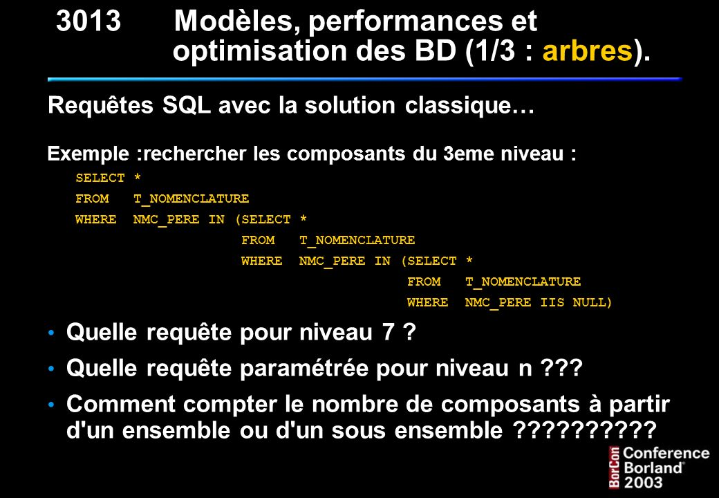 Optimisation des bases de données 3 - Fichiers : Contiguité (créer un fichier de la taille de la base à terme) Surveiller le taux d occupation des disques Répartir les données : Horizontalement : tables sur divers disques Verticalement : données sur un disque, index sur l autre 4 - SGBDR : Taille des pages (8ko sur NT, 4Ko sous Unix/Linux) Fill factor des index (pas sur IB) Collation (plutôt binaire, case et accent sensitive) 3013Modèles, performances et optimisation des BD (3/3 : optim).