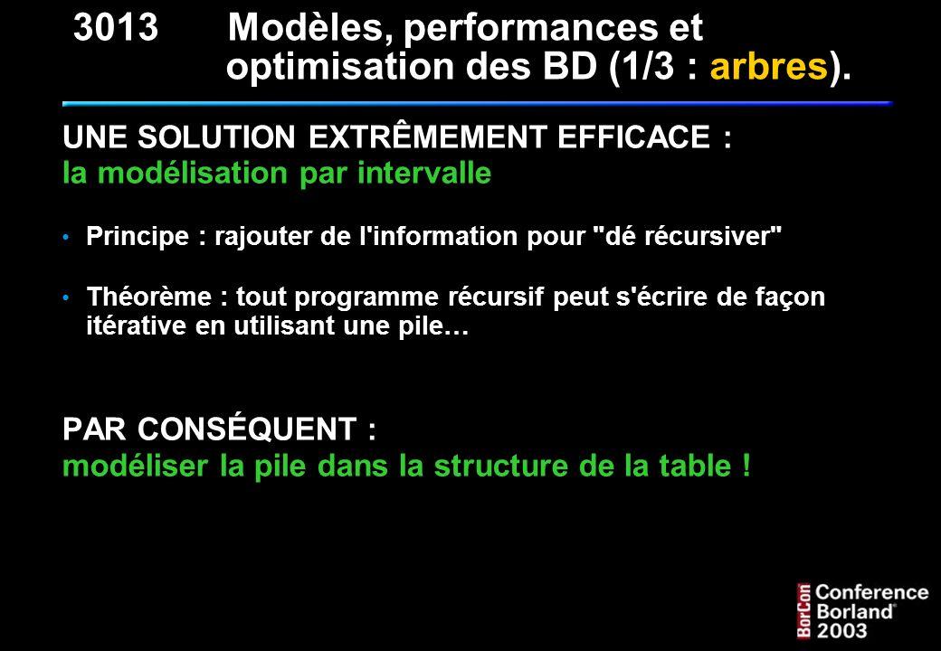 Le script SQL de création de la table : CREATE TABLE T_NOMENCLATURE_NMC ( NMC_ID INTEGER NOT NULL, NMC_BG INTEGER NOT NULL, NMC_BD INTEGER NOT NULL, NMC_NOM VARCHAR(32), PRIMARY KEY (NMC_ID) ) 3013Modèles, performances et optimisation des BD (1/3 : arbres).