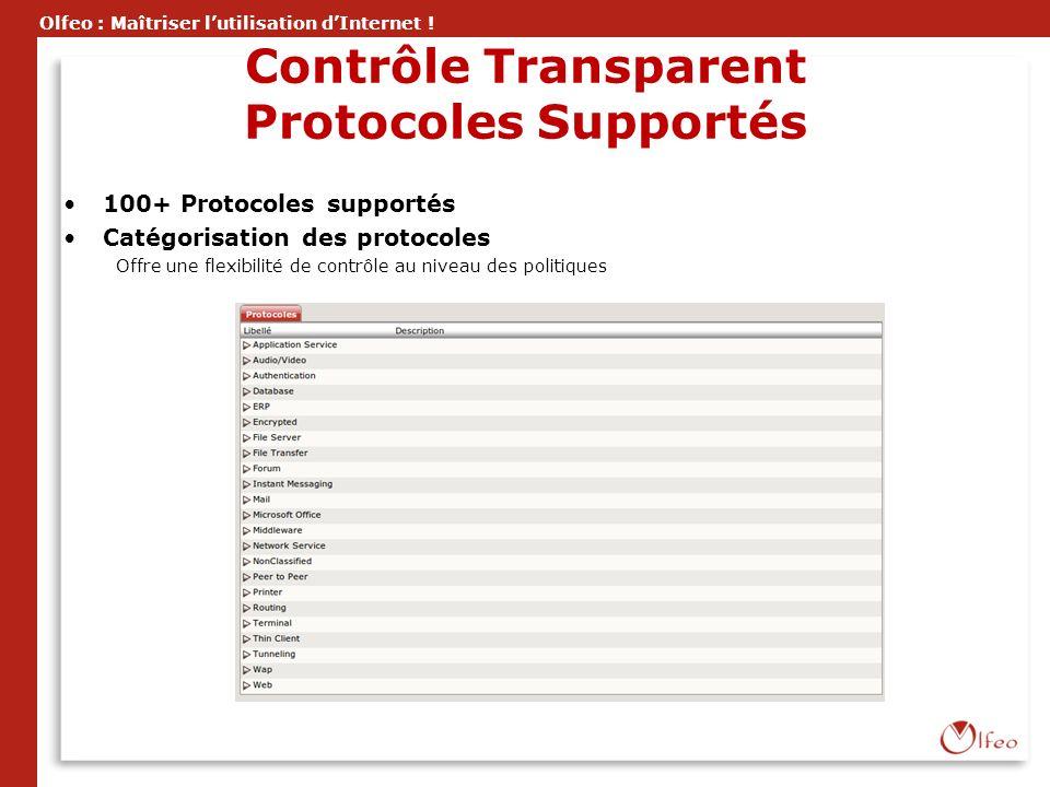 Olfeo : Maîtriser lutilisation dInternet ! Contrôle Transparent Protocoles Supportés 100+ Protocoles supportés Catégorisation des protocoles Offre une