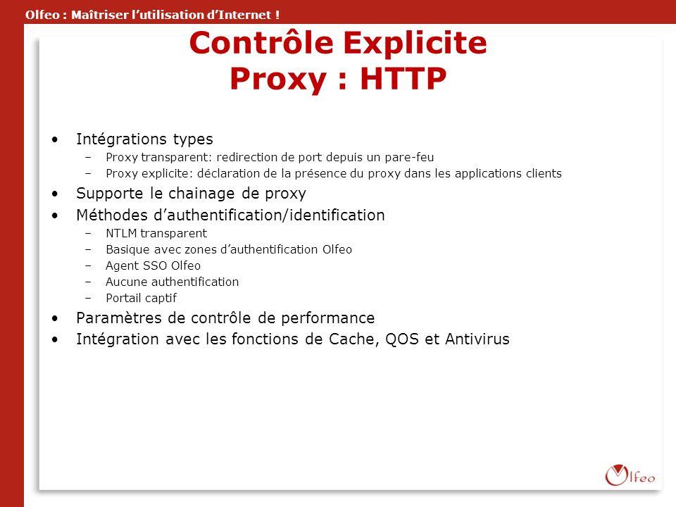 Olfeo : Maîtriser lutilisation dInternet ! Contrôle Explicite Proxy : HTTP Intégrations types –Proxy transparent: redirection de port depuis un pare-f