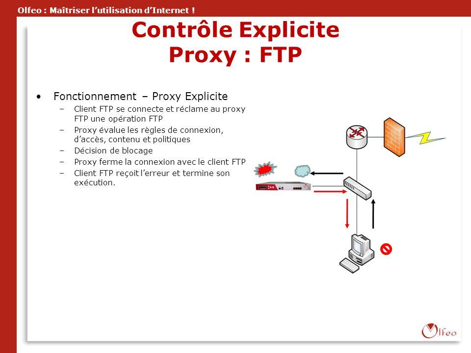 Olfeo : Maîtriser lutilisation dInternet ! Contrôle Explicite Proxy : FTP Fonctionnement – Proxy Explicite –Client FTP se connecte et réclame au proxy
