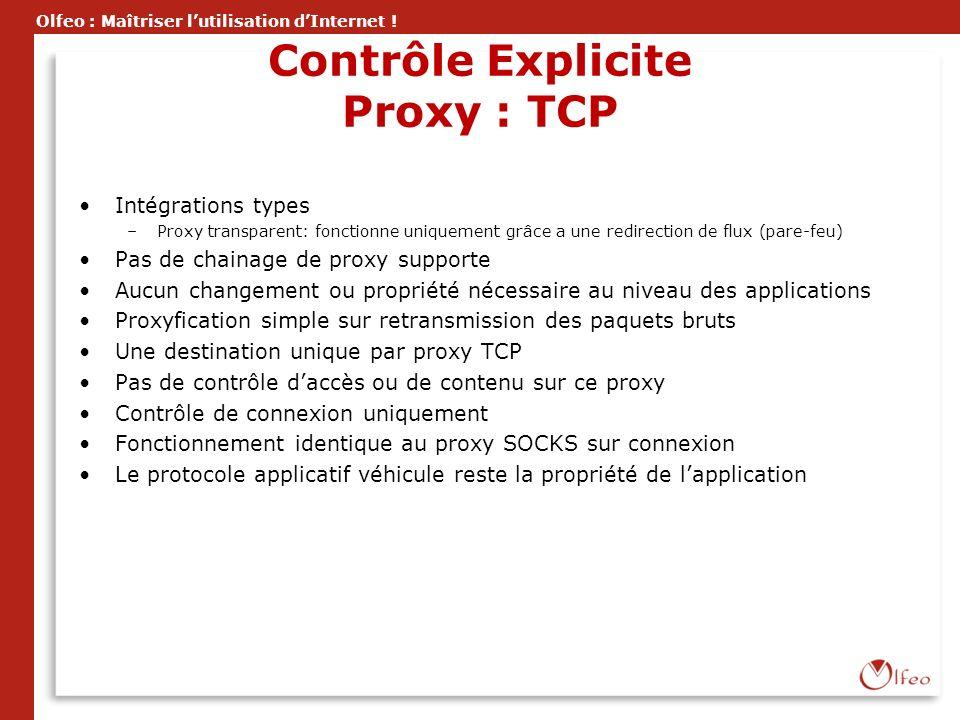 Olfeo : Maîtriser lutilisation dInternet ! Contrôle Explicite Proxy : TCP Intégrations types –Proxy transparent: fonctionne uniquement grâce a une red