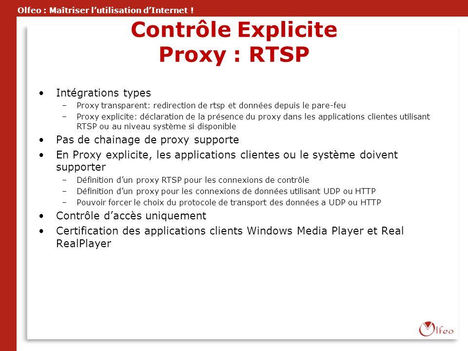 Olfeo : Maîtriser lutilisation dInternet ! Contrôle Explicite Proxy : RTSP Intégrations types –Proxy transparent: redirection de rtsp et données depui