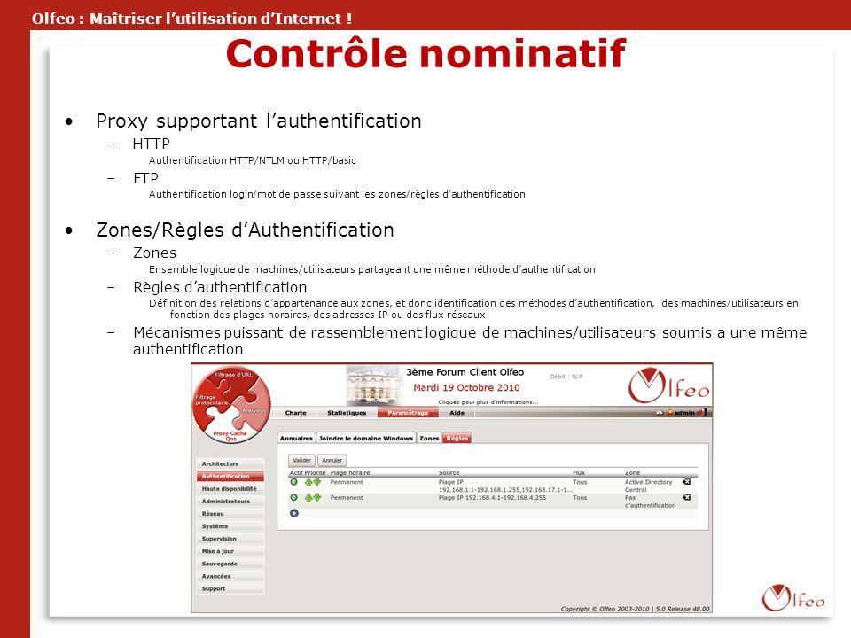 Olfeo : Maîtriser lutilisation dInternet ! Contrôle nominatif Proxy supportant lauthentification –HTTP Authentification HTTP/NTLM ou HTTP/basic –FTP A