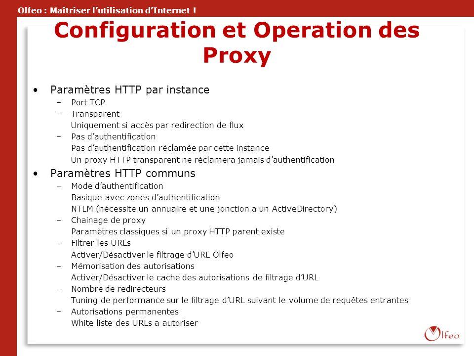 Olfeo : Maîtriser lutilisation dInternet ! Configuration et Operation des Proxy Paramètres HTTP par instance –Port TCP –Transparent Uniquement si accè