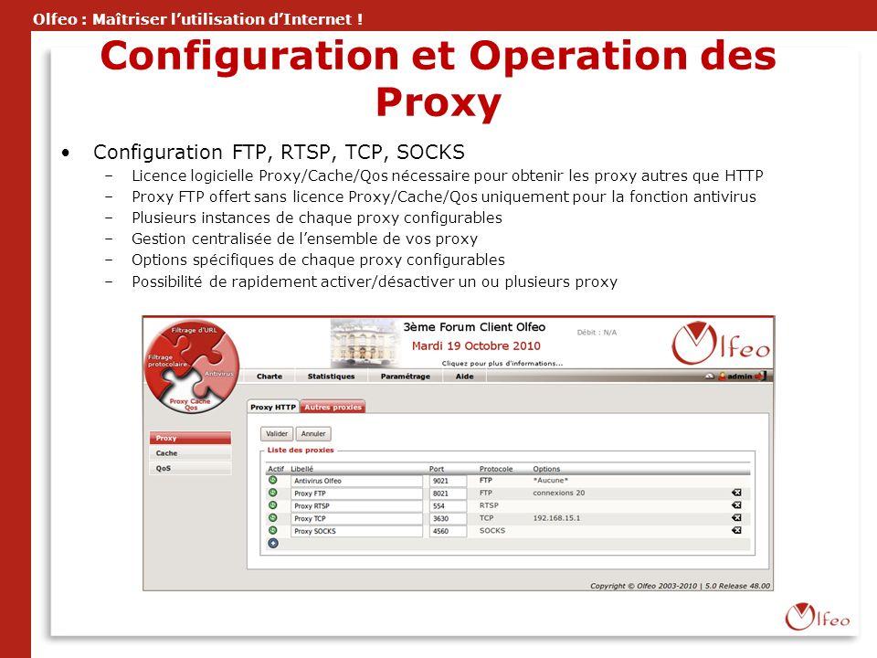 Olfeo : Maîtriser lutilisation dInternet ! Configuration et Operation des Proxy Configuration FTP, RTSP, TCP, SOCKS –Licence logicielle Proxy/Cache/Qo