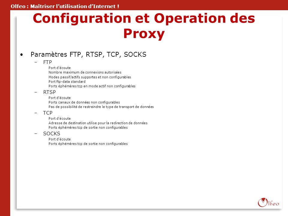 Olfeo : Maîtriser lutilisation dInternet ! Configuration et Operation des Proxy Paramètres FTP, RTSP, TCP, SOCKS –FTP Port découte Nombre maximum de c