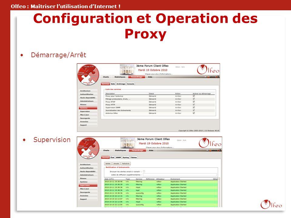Olfeo : Maîtriser lutilisation dInternet ! Configuration et Operation des Proxy Démarrage/Arrêt Supervision