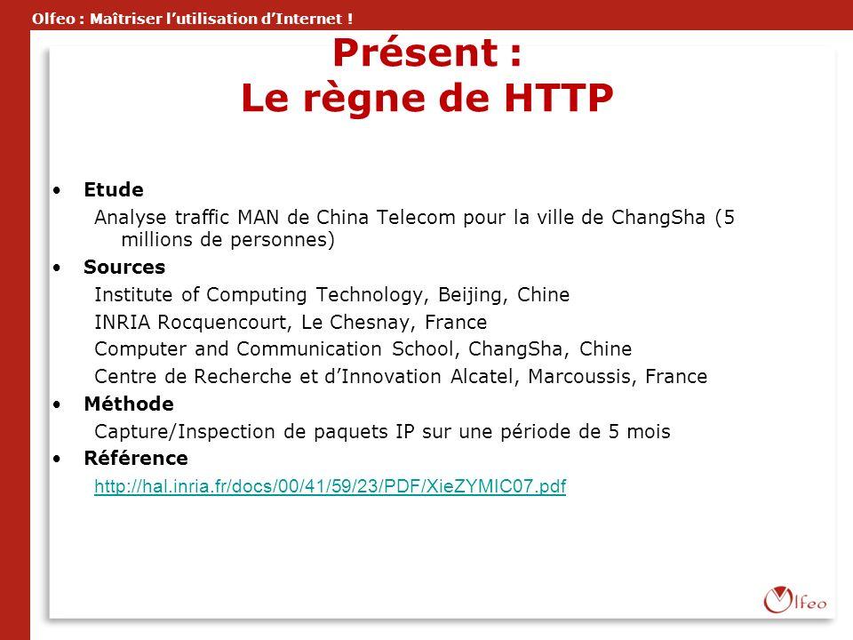 Olfeo : Maîtriser lutilisation dInternet ! Présent : Le règne de HTTP Etude Analyse traffic MAN de China Telecom pour la ville de ChangSha (5 millions