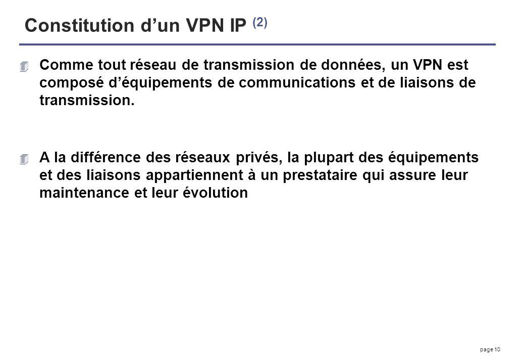 page 10 Constitution dun VPN IP (2) 4 Comme tout réseau de transmission de données, un VPN est composé déquipements de communications et de liaisons d